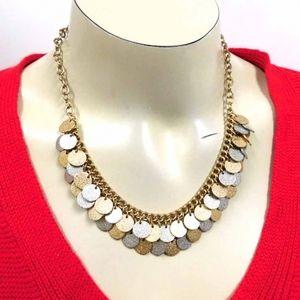 Circular goldtone silvertone charm necklace
